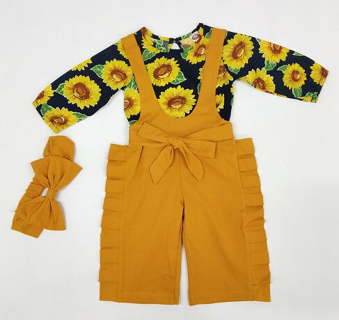 Pamela Sunflower Top + Overall Pants 3pcs Set