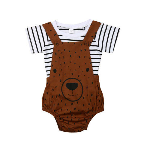Stripe Top +  Bear Romper