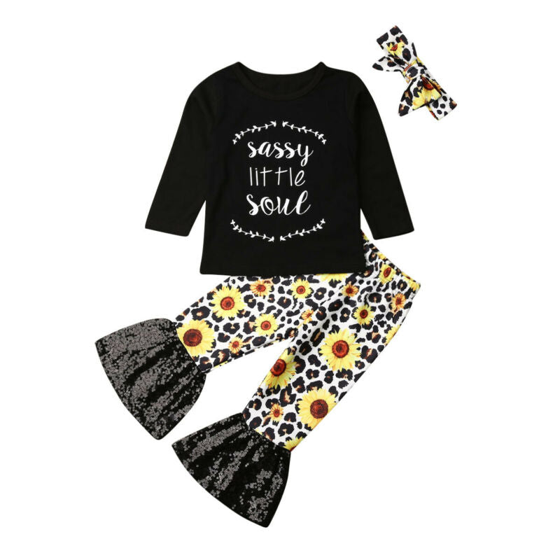 Sassy Little Soul Top + Sunflower Leopard Pants 3pcs Set