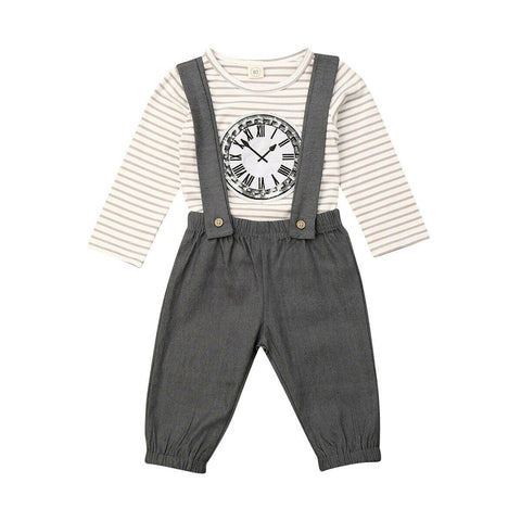 Clock Striped Top + Overall Pants