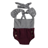 Black & White Striped Burgundy Romper Set