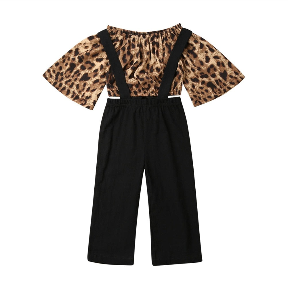 Leopard Flare Sleeve Top + Overall Pants