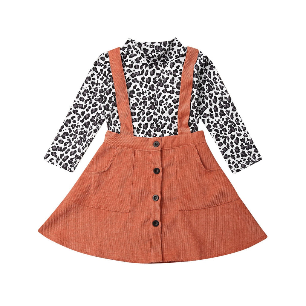 Jessica Leopard Top + Overall Pocket Skirt