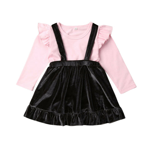 Colleen Pink Top + Velvet Overall Skirt