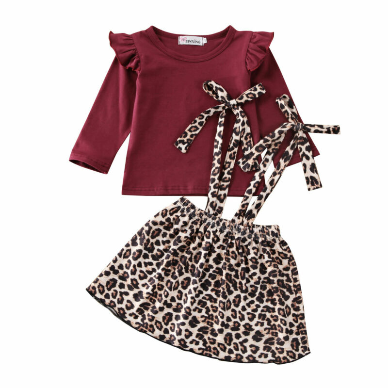 Wendy Ruffle Top + Leopard Overall Skirt