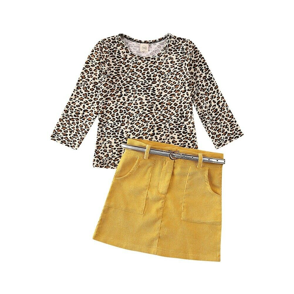 Keanna Leopard Top + Belted Button Skirt
