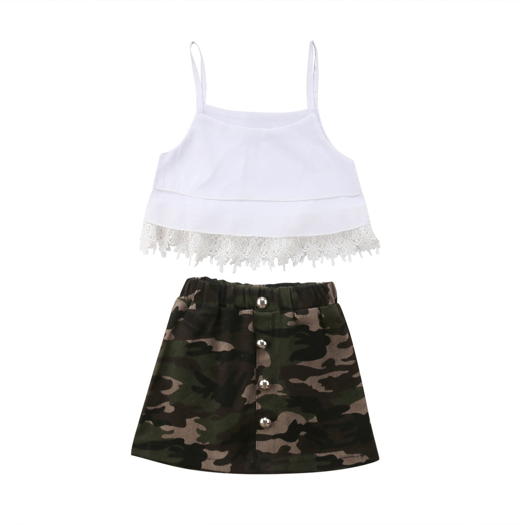 Madison Lace Strap Top + Camo Skirt