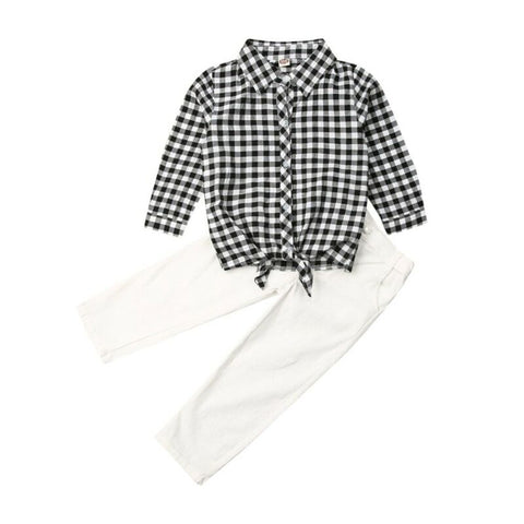 Jodie Plaid Top + White Pants