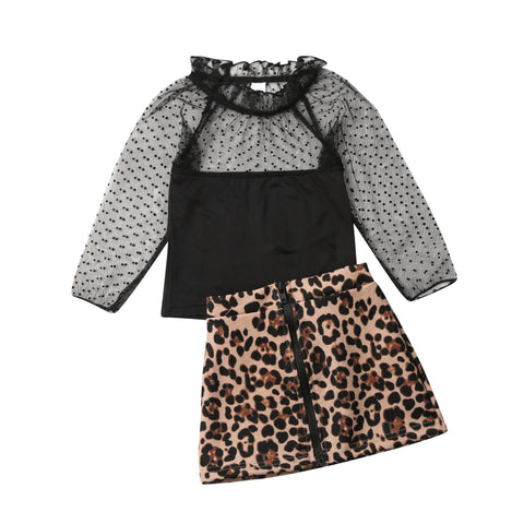 Priscilla Lace Top + Zipper Leopard Skirt