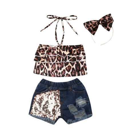 Leopard Strap Top + Distressed Shorts 3pcs Set