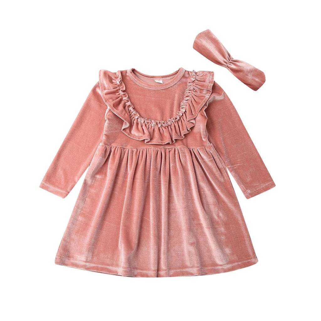 Pia Ruffle Velvet Dress + Headband