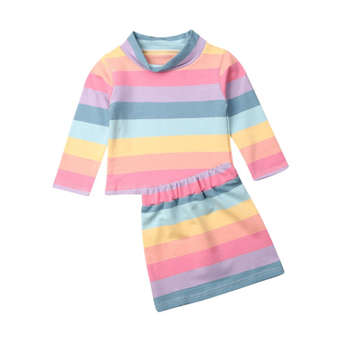 Rainbow  Pullover Top + Skirt