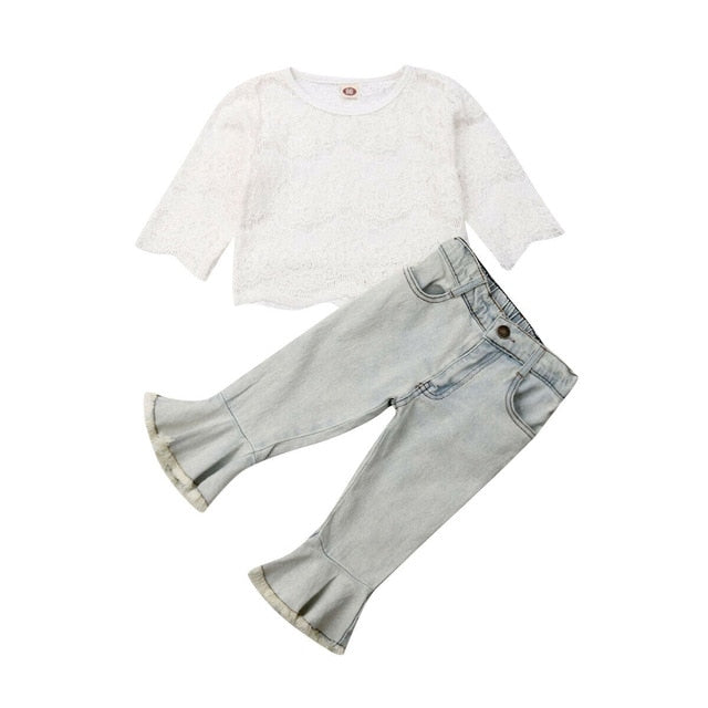 Claudine Lace Top + Denim Bell Pants