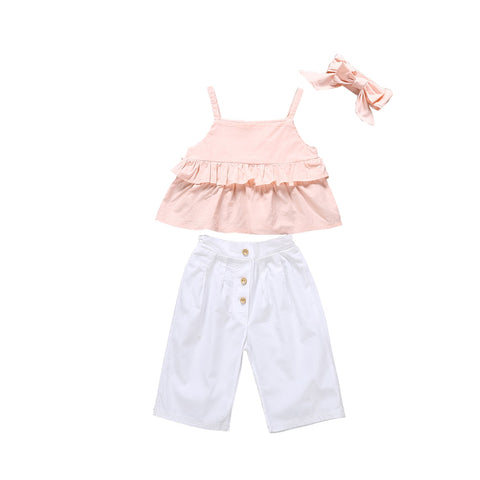 Daphne Strap Top + Wide Pants 3pcs Set