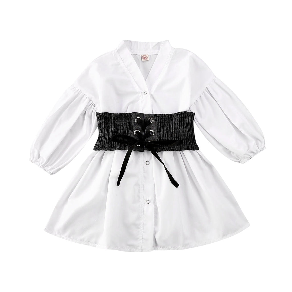 Athena White Belted Dress