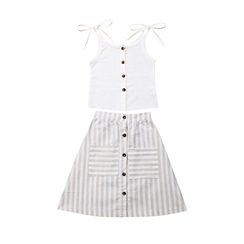 Cecily Bowknot Top + Striped Skirt