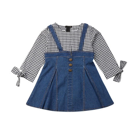 Caroline Plaid Denim Dress