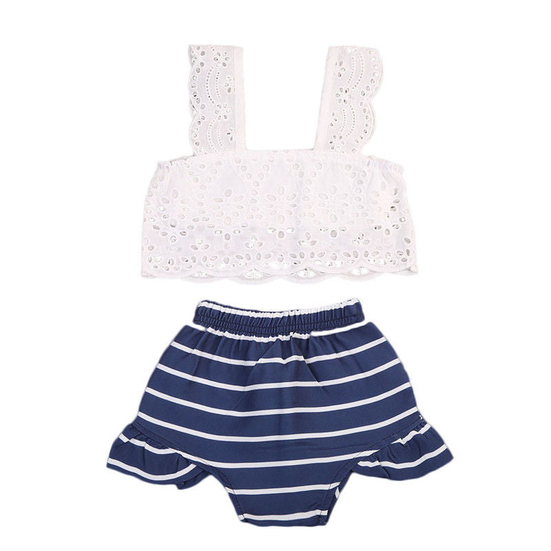 Elise White Lace Top + Stripe Shorts
