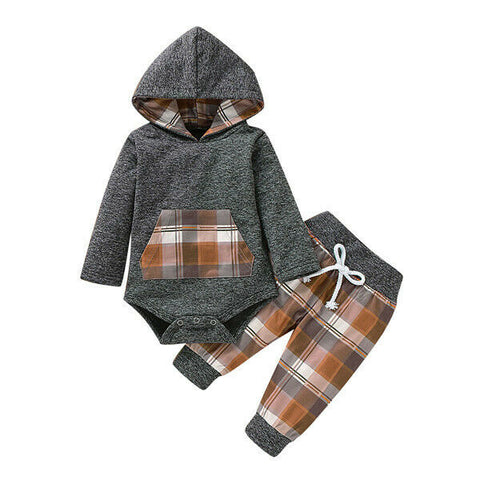 Plaid Hooded Bodysuit + Pants