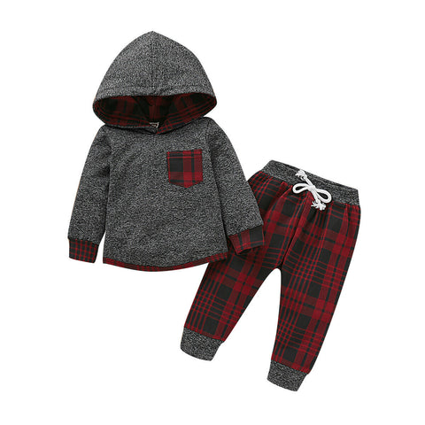 Plaid Hooded Top + Pants