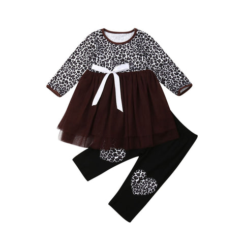 Leopard Tutu Dress Top + Heart Pants