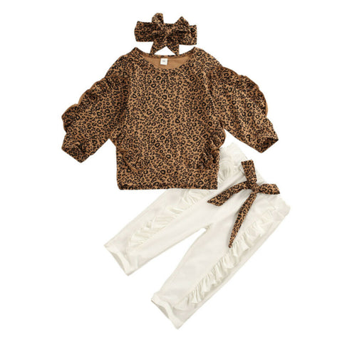 Leopard Ruffle Sleeve Top + Bow Pants 3pcs Set