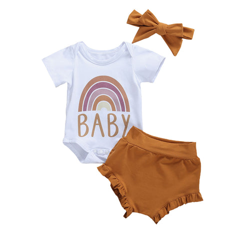 Rainbow Baby Bodysuit + Ruffle Shorts 3pcs Set