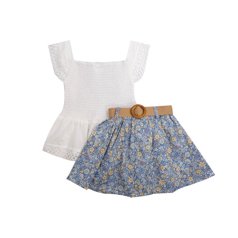 Lydia Lace Top + Belted Floral Skirt