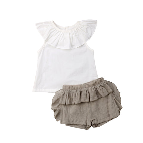 Noemi Cape Collar Top + Ruffle Shorts