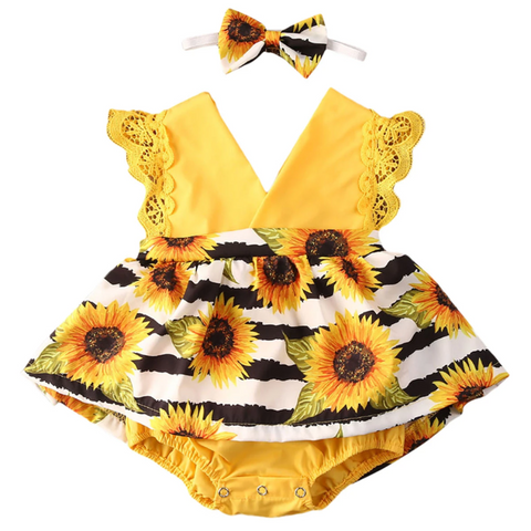 Sunflower Tutu Romper + Headband