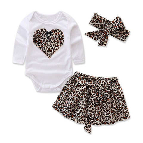 Leopard Heart Bodysuit + Skirt 3pcs Set