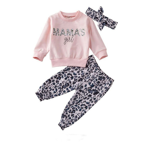 Leopard Mama's Girl Top + Pants 3pcs Set