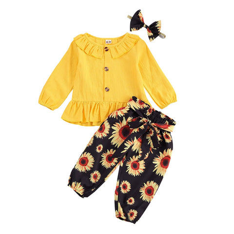Ruffle Collar Top + Sunflower Pants 3pcs Set
