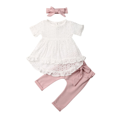Melinda Lace Mini Dress + Bowknot Pants 3pcs Set