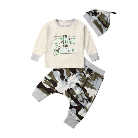 I'm Strong and Brave Top + Camo Pants 3pcs Set