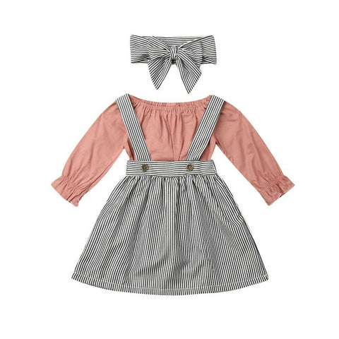 Darlene  Ruffle Bodysuit + Striped Overall Skirt 3pcs Set