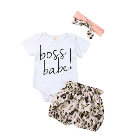 Boss Babe Bodysuit + Leopard Shorts 3pcs Set
