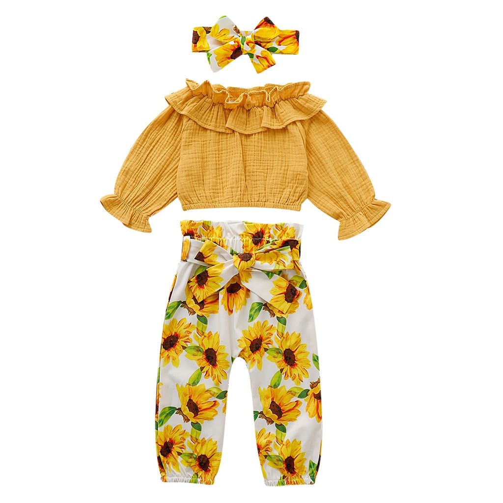 Carina Ruffle Top + Sunflower Pants 3pcs Set