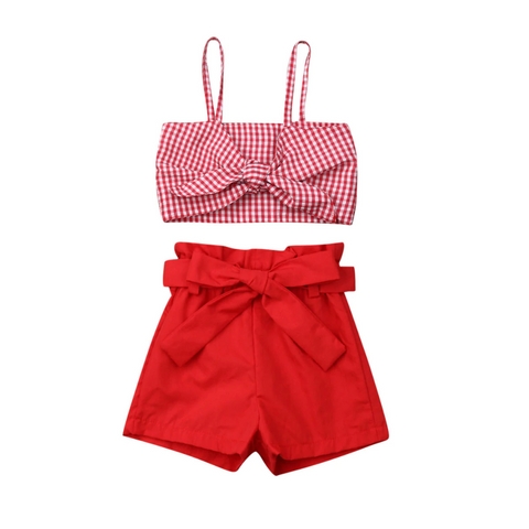 Bowknot Plaid Strap Top + Shorts