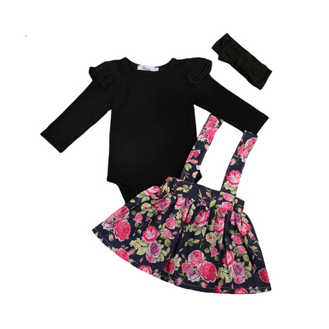 Abby Bodysuit + Floral Overall Skirt 3pcs Set