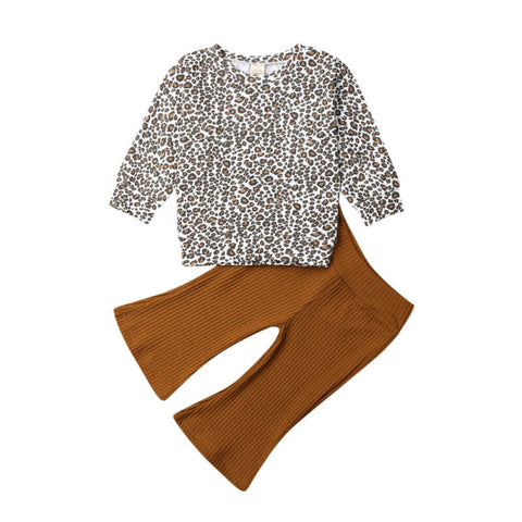 Leopard Pullover Top +  Flare Pants