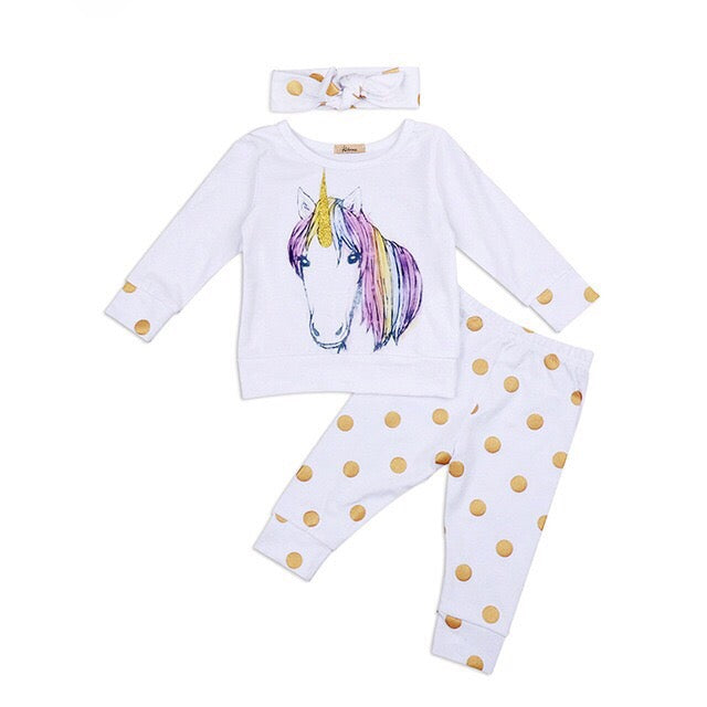 Vivienne Unicorn Top + Gold Polka Dot Pants 3pcs Set