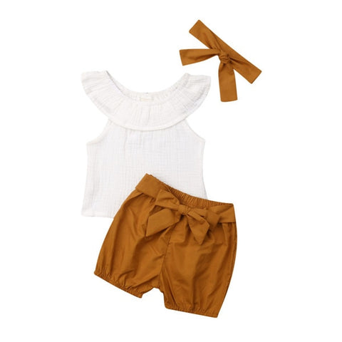 Izzy Cape Collar Top + Shorts 3pcs Set