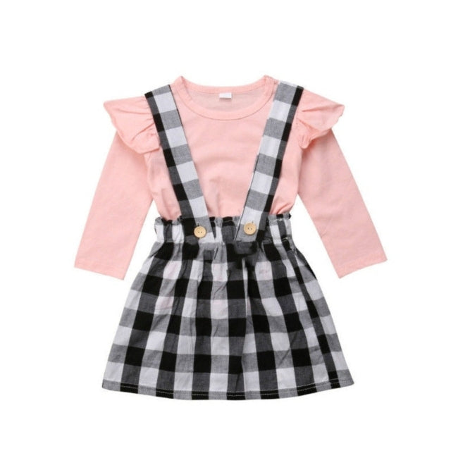 56bf1875c2 Black and Pink Plaid Dress – Little White Star