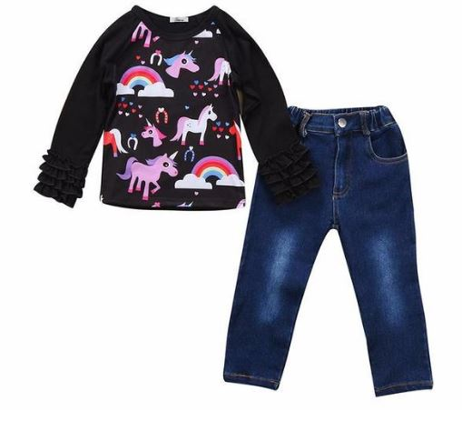 Rainbows & Unicorns Top + Denim Pants