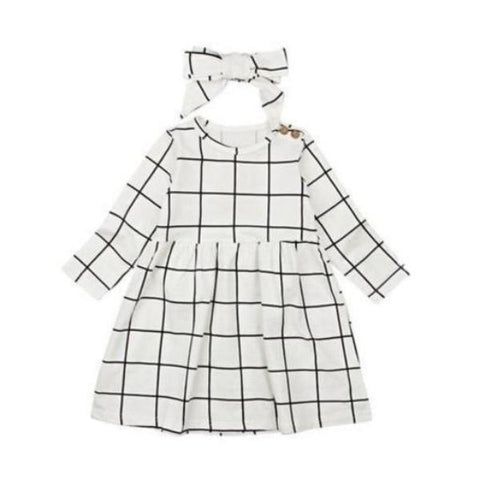Cassie Plaid Dress + Headband