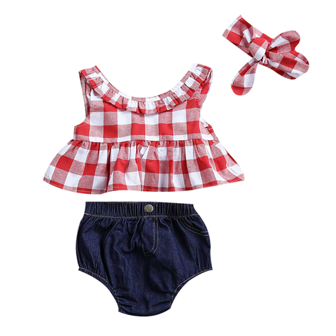 Plaid Top + Denim Shorts 3pcs Set