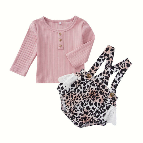 Amy Button Top + Leopard Overall Shorts