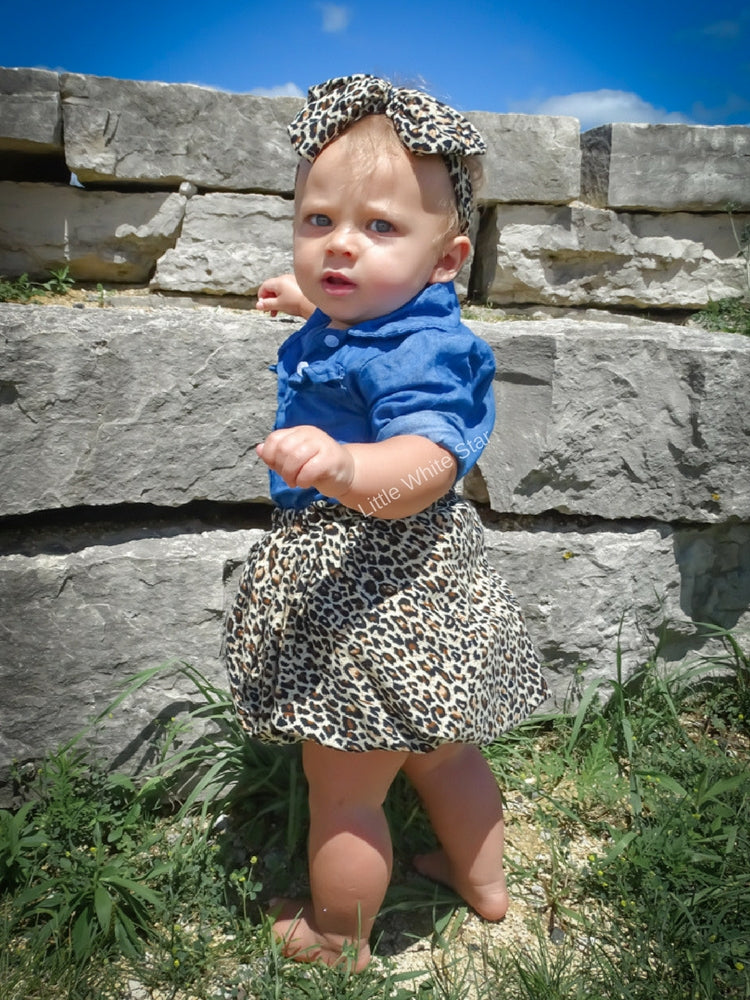 365c2e463 Baby Girl Clothes Denim Top With Cheetah Dress Skirt   Headband-3pcs ...