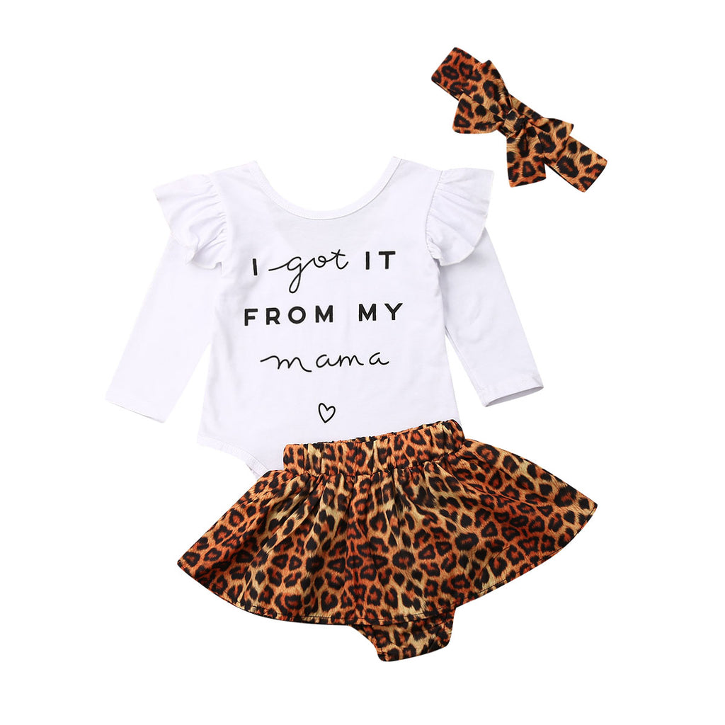 From My Mama Bodysuit + Leopard Skirt 3pcs Set